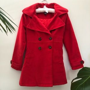 Urban Girls Removable Hooded Peacoat Red Jacket